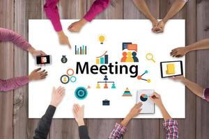 Top view of business team meeting and discussion with ideas and creative icon design photo
