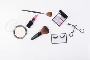 Top view of a collection of cosmetic beauty products photo