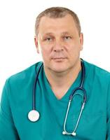 Doctor with stethoscope on a white background