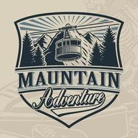Vintage vector design of a ski lift with mountains
