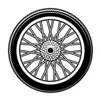 ilustración vectorial en blanco y negro de la rueda de bicicleta vector