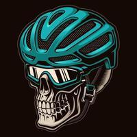 Vector colourful illustration of a skull cyclist in helmet