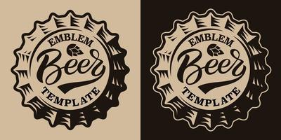 A black and white vintage beer emblem with a beer cap vector