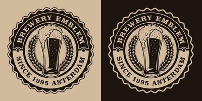 A black and white vintage beer emblem with a glass of beer. vector
