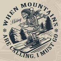 Skeleton on the Ski Mountain vector