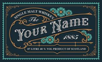 A vintage whiskey label template vector