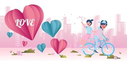 Young couple cycling happy together. vector