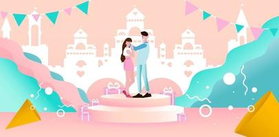 Valentine's day concept Couple on peach background with castle building. vector