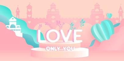 Valentine's day concepttext on podium on peach background. vector