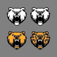 set of bear head mascots vector