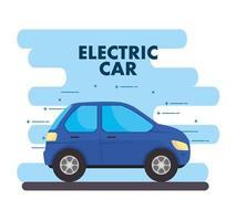 Electric blue car, environment friendly concept vector