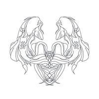 vector hand drawn illustration of fish ambigram