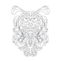 vector hand drawn illustration of beetle ronin