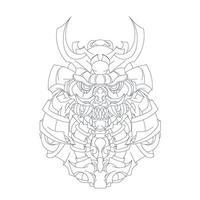 vector dibujado a mano ilustración de mecha ronin japón