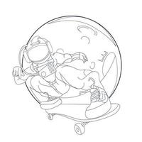 vector hand drawn illustration of astronaut freestyle