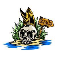 skull summer beach design vector