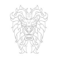 vector hand drawn illustration of lion angry