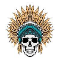 Ilustración de vector de cráneo nativo americano
