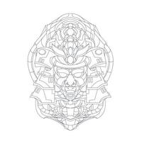 vector dibujado a mano ilustración de mecha japón ronin