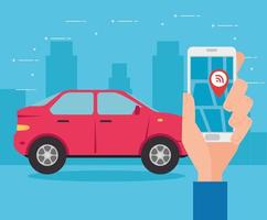 automóvil y teléfono inteligente con la aplicación de navegación gps en pantalla vector