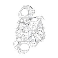 vector hand drawn illustration of astronaut and octopus