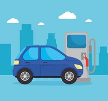 electric car in the charging station vector