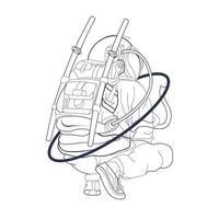 vector hand drawn illustration of astronaut squat