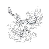 vector hand drawn illustration of indonesian garuda