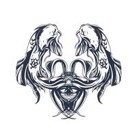 fish ambigram inking illustration artwork vector