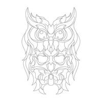 vector hand drawn illustration of owl devil