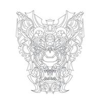 vector hand drawn illustration of lion ornamental