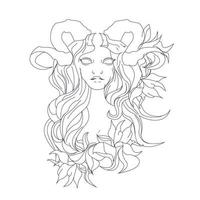vector hand drawn illustration of lady rose