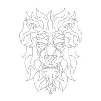 vector hand drawn illustration of angry lion