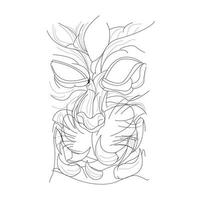 vector hand drawn illustration of satan cat