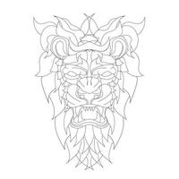 vector hand drawn illustration of lion