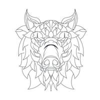 vector hand drawn illustration of pig