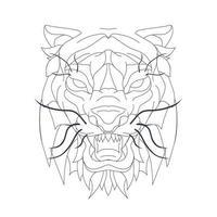 vector hand drawn illustration of tiger