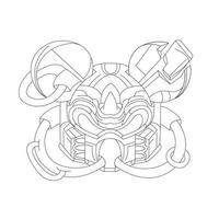 vector hand drawn illustration of mouse mask