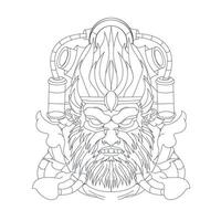 vector hand drawn illustration of angry monkey