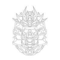vector dibujado a mano ilustración de cráneo ronin