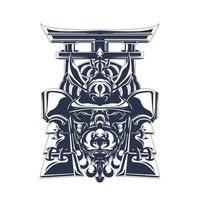 samurai japan inking illustration artwork vector