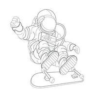 vector hand drawn illustration of astronaut skateboard