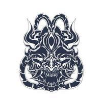 satanás cráneo entintado ilustración ilustraciones vector