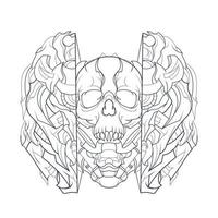 vector hand drawn illustration of dark mecha skull