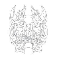 vector dibujado a mano ilustración de cráneo oscuro mecha