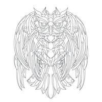 vector dibujado a mano ilustración de búho robótico