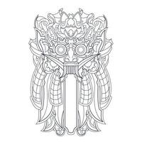vector hand drawn illustration of culture balinese indonesian
