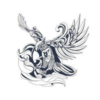 garuda indonesian inking illustration artwork vector