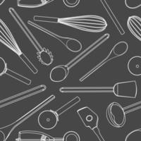 Seamless kitchen tools Pattern cute vintage vector