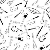 Seamless Kitchen Tools Pattern in Vector hand drawn, modern design